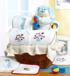 Puppy Pals New Baby Gift Basket