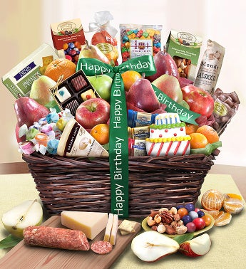 Happy Birthday Fruit & Sweets Basket Deluxe