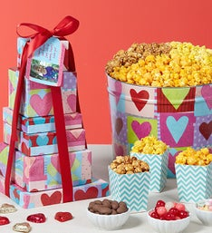 The Popcorn Factory 6-Tier Heart Deco Tin & Tower