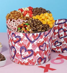 Popcorn Factory Letterpress  Hearts 7way Snack Tin