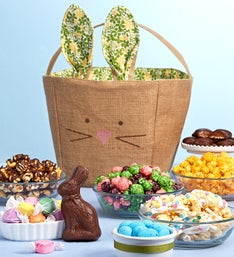 The Popcorn Factory Burlap Bunny Basket