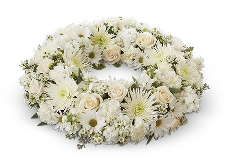 Sympathy White Funeral Wreath