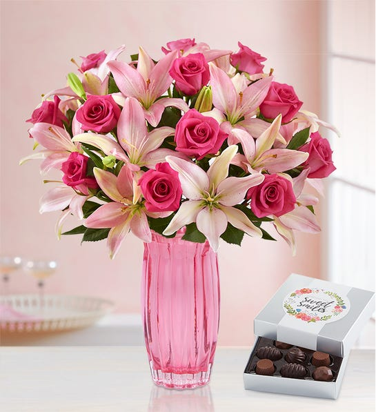 Magnificent Pink Rose & Lily Bouquet with Pink Vase & Chocolate