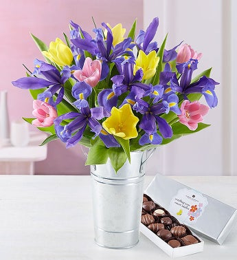 Fanciful Spring Tulip and Iris Bouquet
