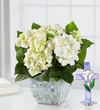 White Hydrangea in Mosaic for Sympathy