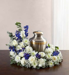 Cremation Wreath - Blue and White