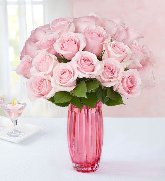 Pink Petal Roses 24 Stems with Pink Vase