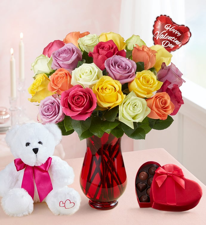 Two Dozen with Red Vase, Balloon, Bear & Chocolate