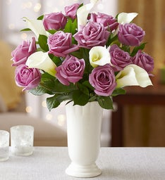 Purple Rose & White Calla for Sympathy