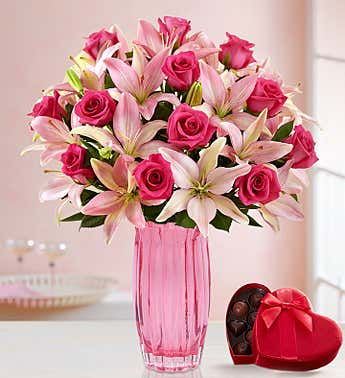 Pink Rose & Lily Bouquet for Valentine's Day