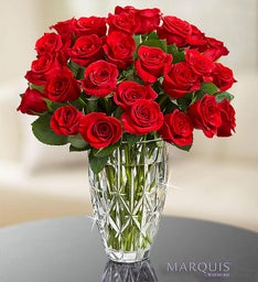 Marquis by Waterford® Vase + 24 Red Roses