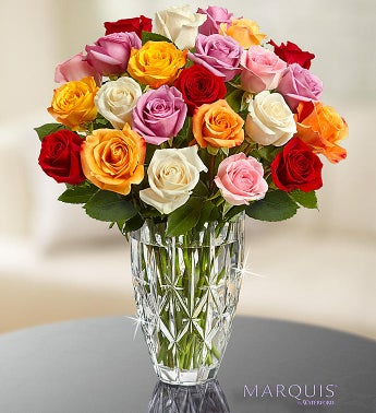 Marquis by Waterford® Vase + 24 Multi Roses
