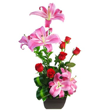 Red Roses and Stargazer Lilies Design