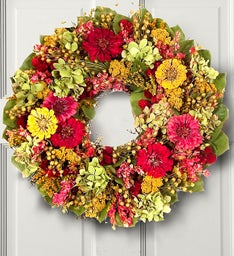Preserved Zinnia Garden Wreath- 16""
