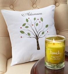 Personalized Family Pillow and Candle