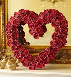 Faux Red Rose Heart Wreath – 16""
