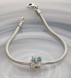 Chamilia® Bracelet with Jeweled Butterfly Charm