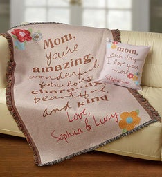 Personalized Mother's Day Blanket and Pillow