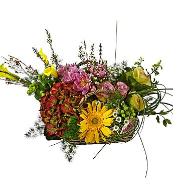 Basket of Colored Flowers