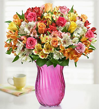 Assorted Roses & Peruvian Lilies Double Bouquet with Pink Vase