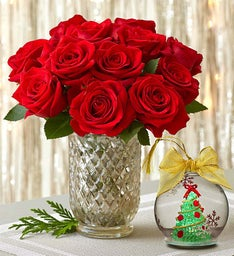Red Rose Bouquet with Lenox® Ornament