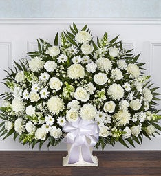 Heartfelt Tribute™ White Floor Basket Arrangement