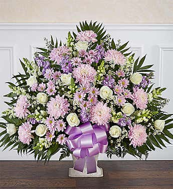 Heartfelt Tribute™ Lavender & White Floor Basket Arrangement