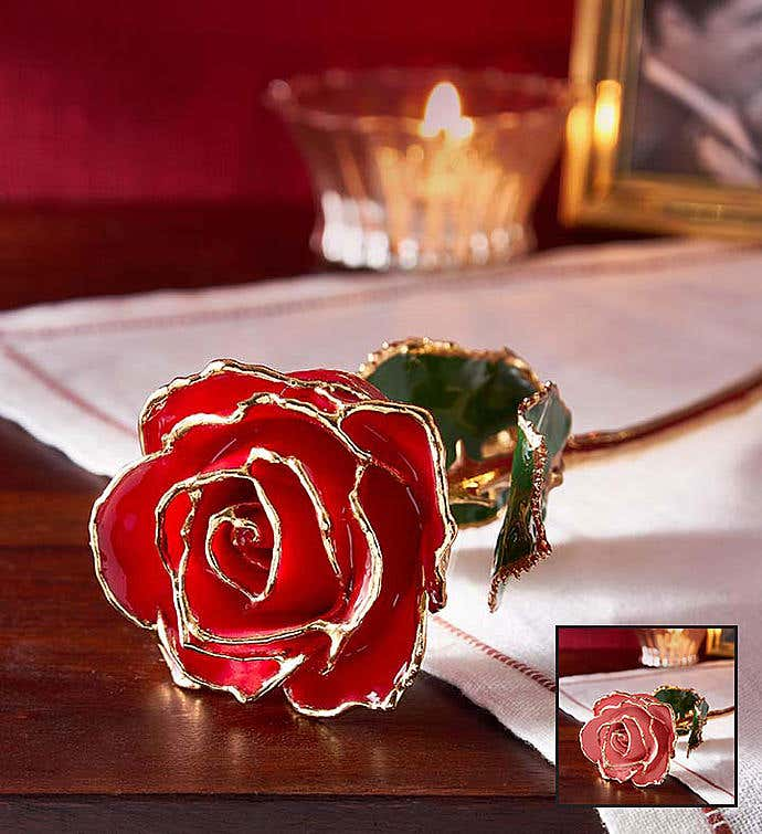 Enchanting Rose- 24K Gold Dipped- Red Or Pink