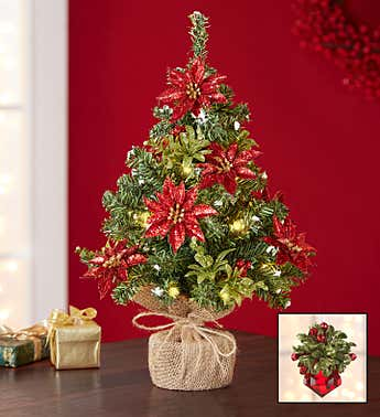 Kissing Krystals® Poinsettia Tree & Ornament