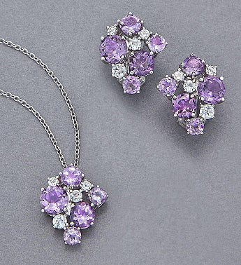 Amethyst & White Topaz Jewelry Set