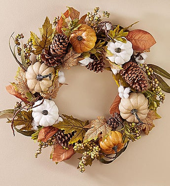 Autumn Pumpkin Centerpiece & Wreath-24""