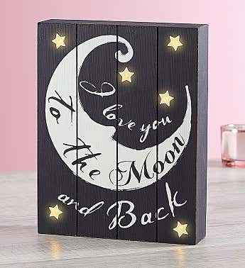 Love You To The Moon And Back LED Wall Art