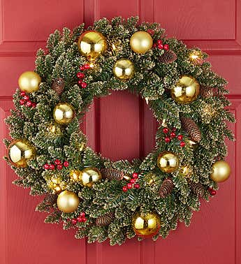 Glittery Gold Wreath with LED 24""