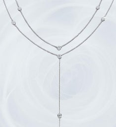 Crislu Adjustable Round Bezel Set Y Necklace-28""