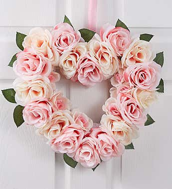 Pink Rose Heart Shaped Wreath- 16""