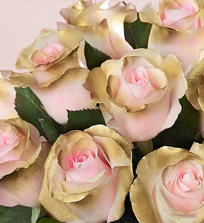 Be Mine™ Pink and Gold Roses