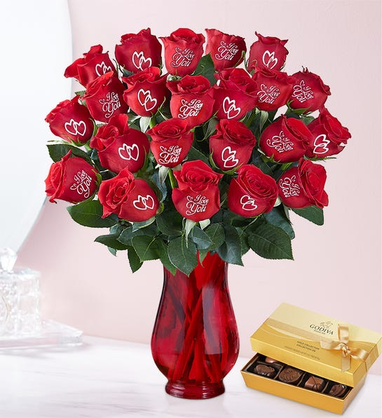 Conversation Roses I Love You 24 Stems Bouquet with Red Vase & Godiva Chocolate