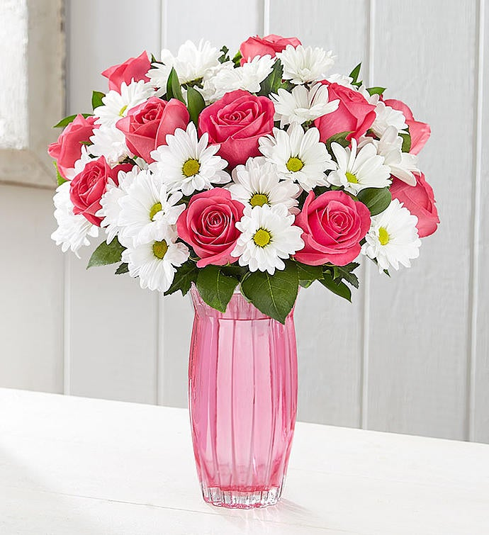 Fair Trade Certified Pink Roses & White Daisies