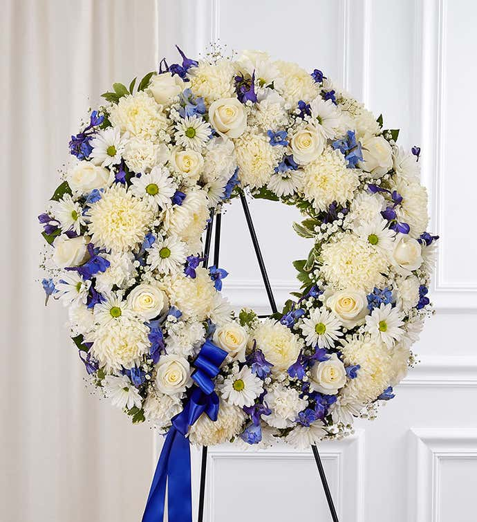 Serene Blessings™ Standing Wreath- Blue and White