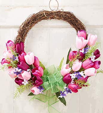 Spring Twig Tulip Wreath-20""