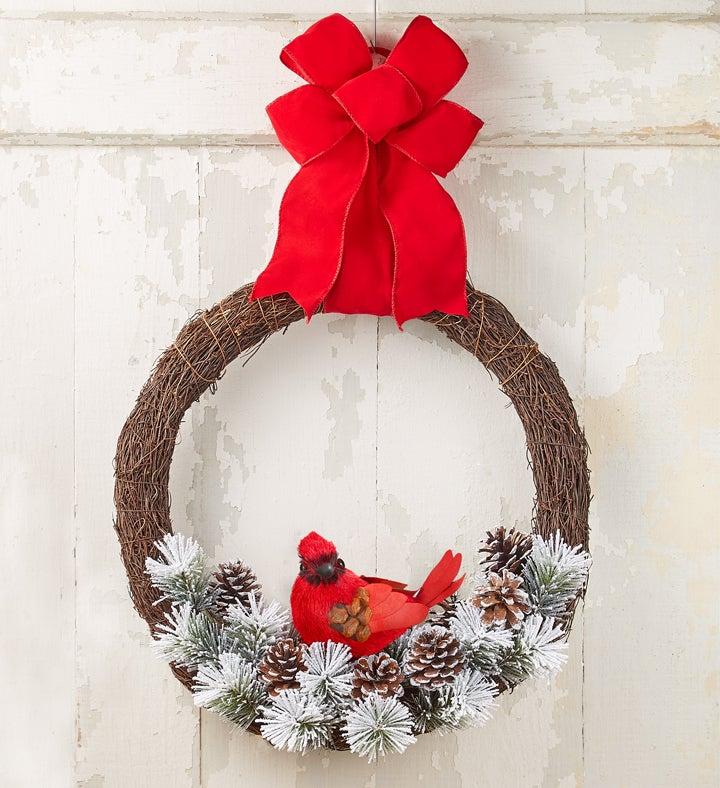 Snowy Cardinal Wreath