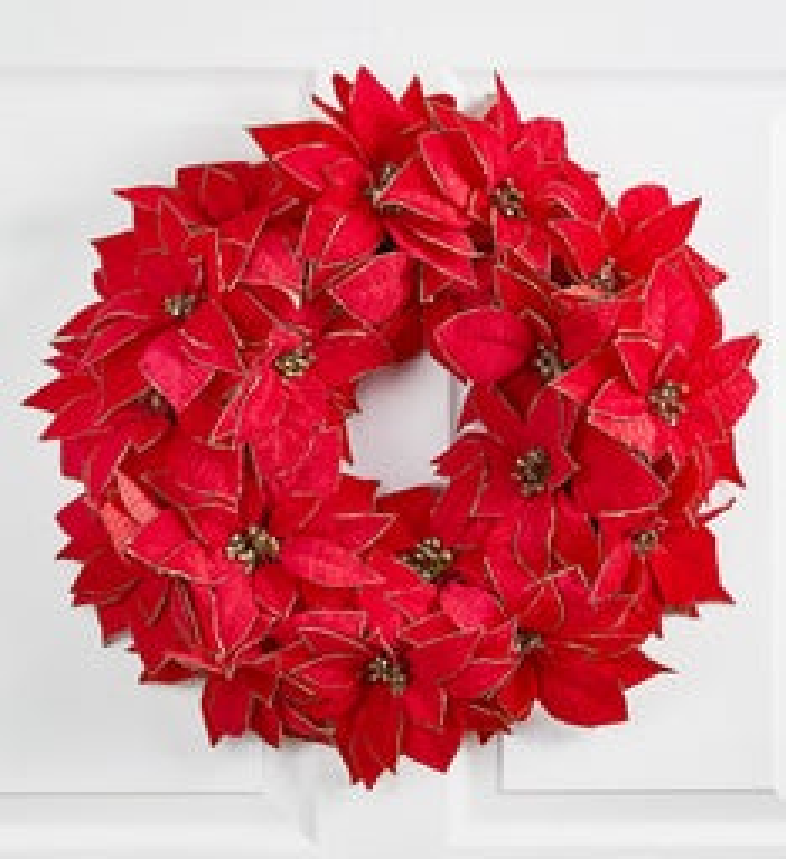 Shimmering Poinsettia Wreath 20 1800flowers Com