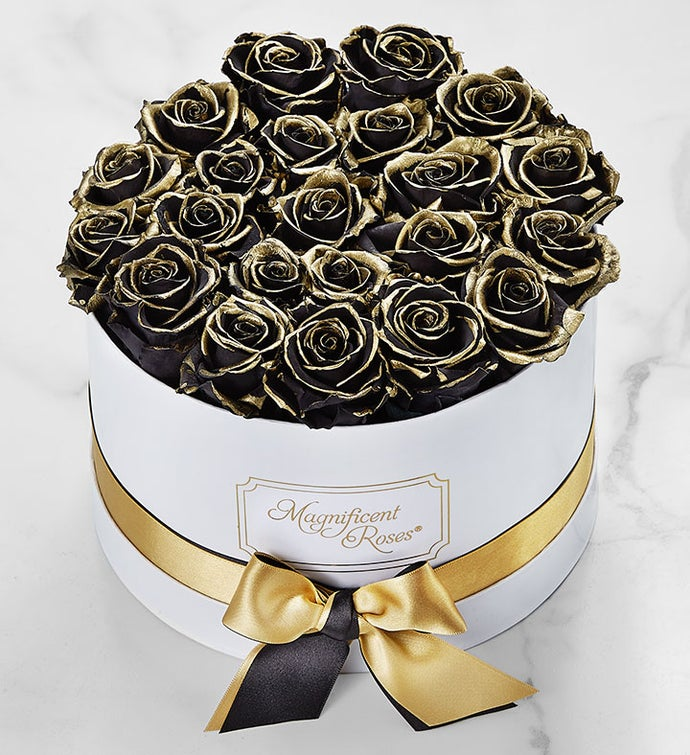 Magnificent Roses® Preserved Gold Kissed Roses