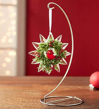 Mistletoe Cardinal Snowflake Ornament by Kissing Krystals®