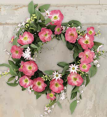 Pink Poppy Wreath-22""