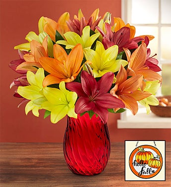 Autumn Lily Double Bouquet with Red Vase