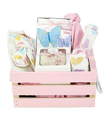 Personalized Organics Gift Basket in Pink Butterfly Kisses