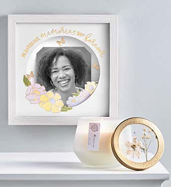 Memories Bloom Forever Shadow Box and Candle