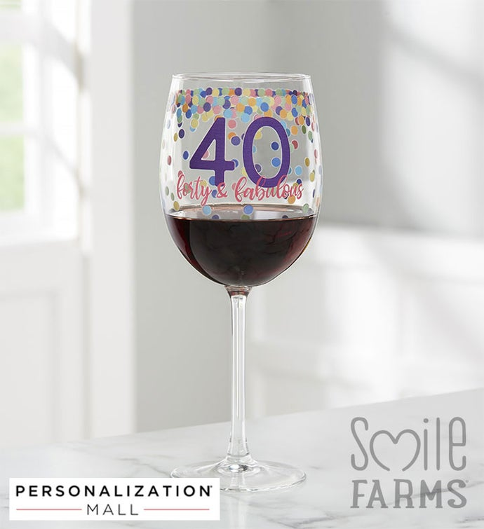 Confetti Cheers Personalized Birthday Wine Glass