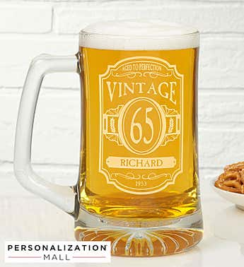 Personalized Vintage Deep Etched Beer Mug